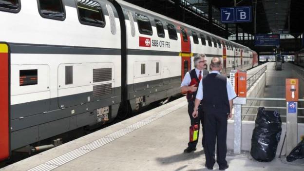 Wartender Zug am Bahnhof SBB