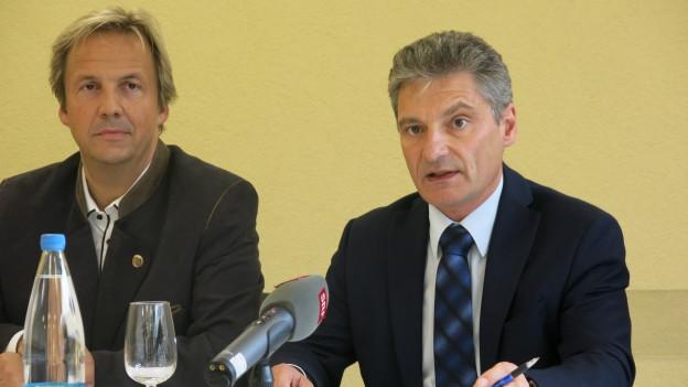 Remo Oser und Alex Imhof an der Medienkonferenz