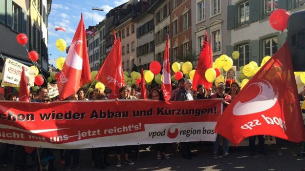 Gewerkschaften demonstrieren in Liestal