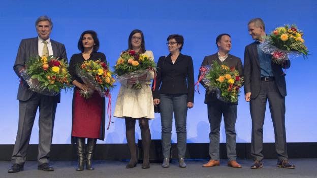 Doe Wahlsieger in Basel mit Christoph Eymann und Sibel Arslan