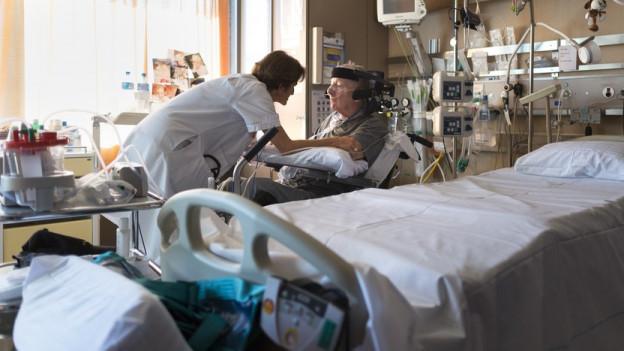 Patient in Spitalzimmer