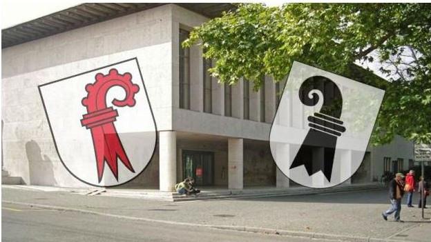 Kantonswappen vor der Universität Basel