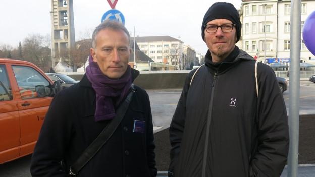 Thomas Weiss (Baudepartement) und Matthias Schlatter (Pro Velo)