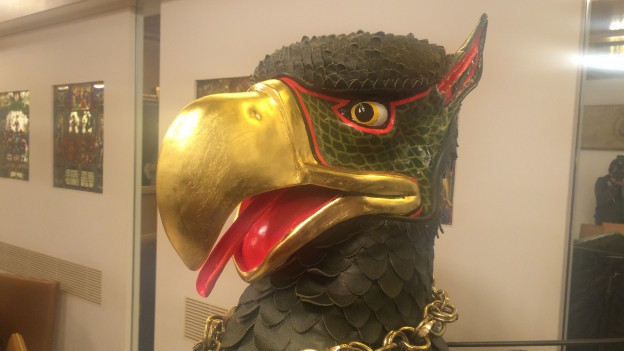 Vogel Gryff hat einen strengeneren Blick