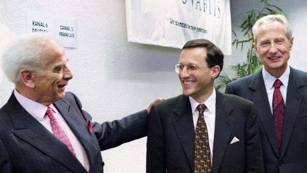 Daniel Vasella zwischen Alex Krauer und Marc Moret.