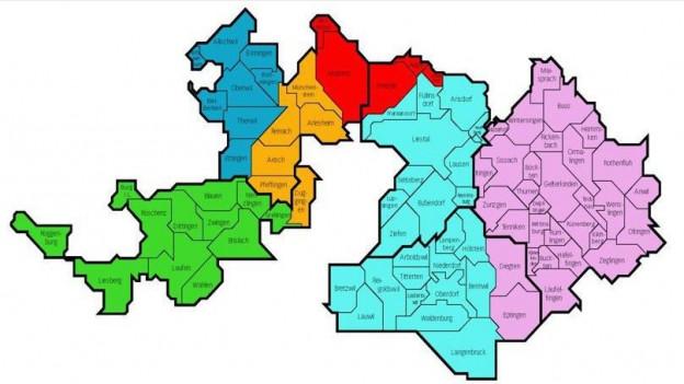 Vorschlag für sechs neue Regionen im Baselbiet