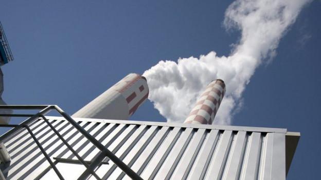 Blick auf rauchende Kamine eines Holzkraftwerks
