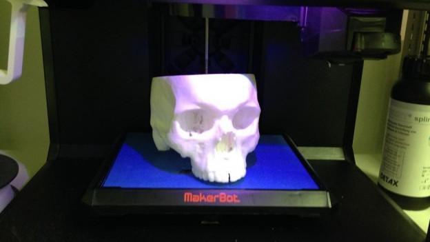 Ein Schädelknochen frisch aus dem 3D-Drucker.