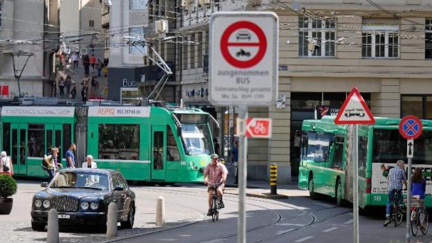 Basler Schifflände mit Tram, Auto, Bus und Velo