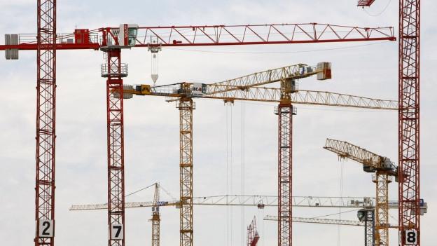 Mehrere hohe Baukräne
