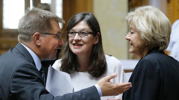 Silvia Schenker, Toni Brunner und Susanne Leutenegger