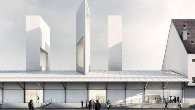 Visualisierung des neuen Kunsthaus Baselland auf dem Dreispitz