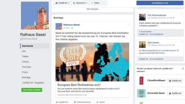 Facebook-Auftritt des Kantons Basel-Stadt.