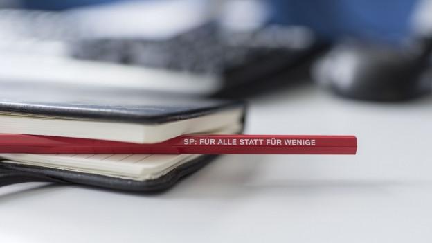 Bleistift mit dem SP-Slogan