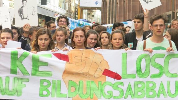 Protest gegen Bildungsabbau in Basel