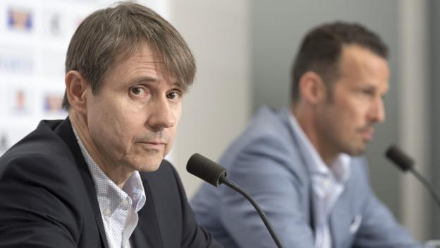Die neue Clubleitung des FC Basel mit Bernhard Burgener, links, und Marco Streller, rechts.