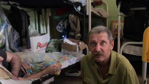 Obdachloser im Obdachlosenheim