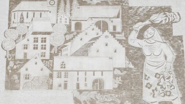 Das Wandbild an der Turnhalle in Ormalingen