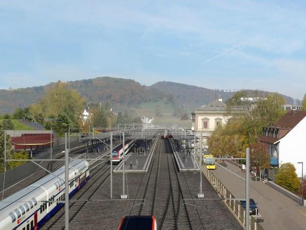 Blick von oben auf den Bahnhof Liestal