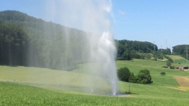 Wasser-Fontäne in Muttenz.