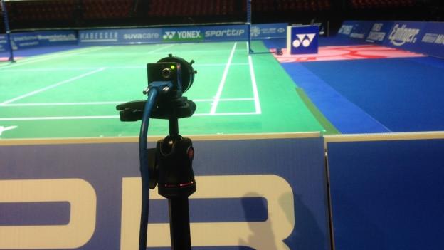 Zum ersten Mal in Basel eingesetzt: Hawk-Eye beim Badminton Swiss-Open in Basel.
