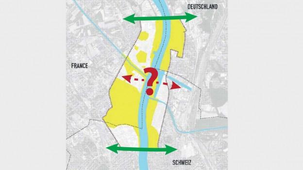 Eine neue Rheinbrücke soll unter der Dreirosenbrücke zu liegen kommen