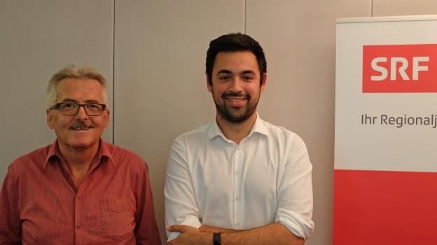 SP Präsident Adil Koller und SVP Präsident Oskar Kämpfer im Streitgespräch