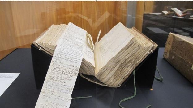 Das Lexikon füllt insgesamt 20 Bücher. Darin eingeklebt sind auch tausende Notizen.