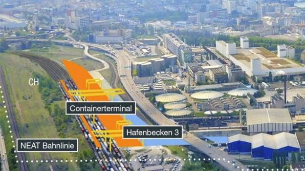 Flugaufnahme des Hafens mit Gateway Plänen