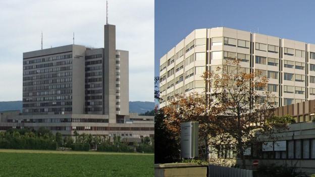 Bilder des Bruderholzspitals und des Universitätsspitals