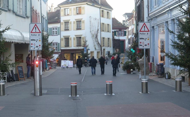 Die erste Polleranlage steht beim Spalenberg in Basel
