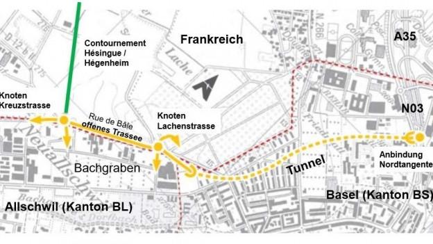 Strassenkarte des geplanten Projekts