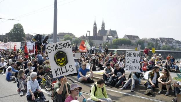 Basler Syngenta-Demo auf der Wettsteinbrücke