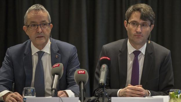 Thomas Weber und Lukas Engelberger an der gemeinsamen Pressekonferenz.