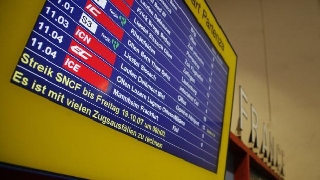 Viel Zugsausfälle von und nach Frankreich