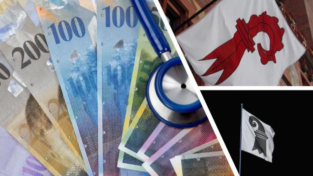 Symbolbild Geld, Wappen der beiden Basel