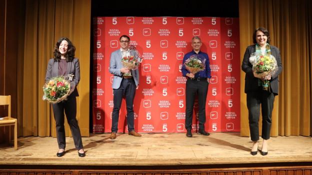 Die drei SP-Kandidierenden mit der Grünen Elisabeth Ackermann