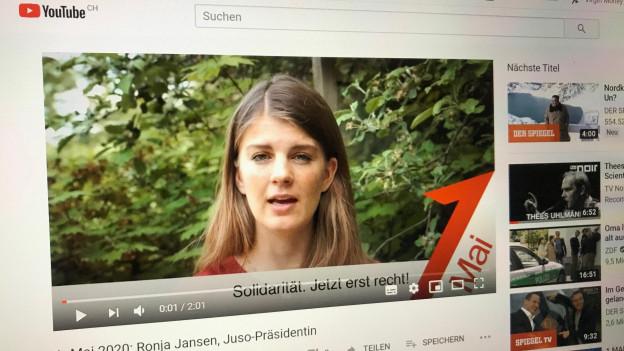 Juso-Präsidentin Ronja Jansen hält ihre Rede auf YouTube.