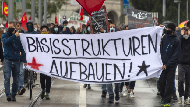 Illegale Demonstration in Basel.