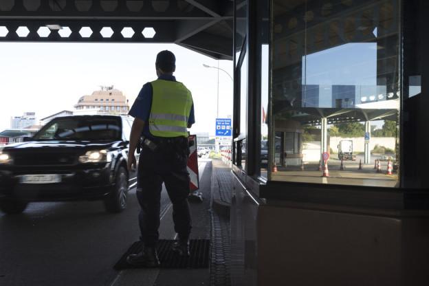 Grenzwächter am Grenzübergang in Basel