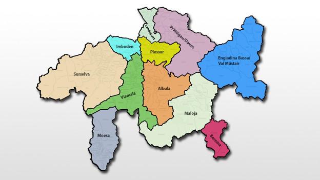 Der Kanton Graubünden und seine 11 neuen Regionen.