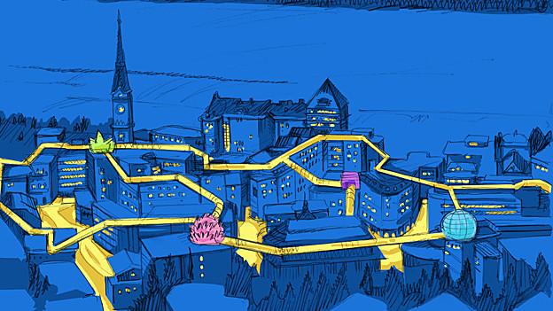 Über den Dächern von St. Moritz soll es einen Steg geben.