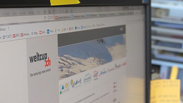 Bildschirm mit weltcup.ch Webseite