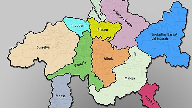 Karte der elf neuen Regionen in Graubünden