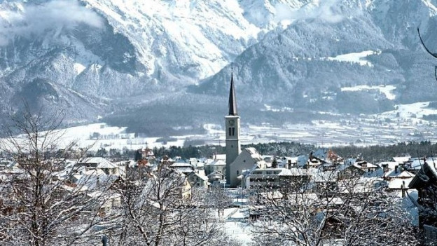 Dorf Bad Ragaz im Winter