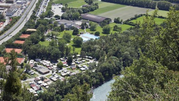 Lufansicht des Gebiets Obere Au in Chur