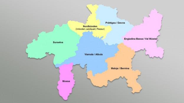 Karte mit Aufteilung der Gemeinden
