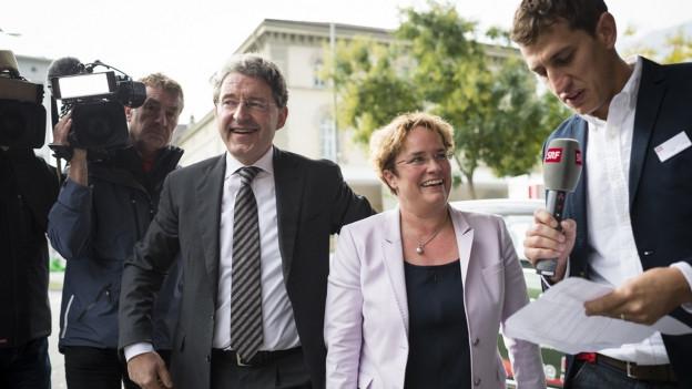 Magdalena Martullo-Blocher mit Journalisten