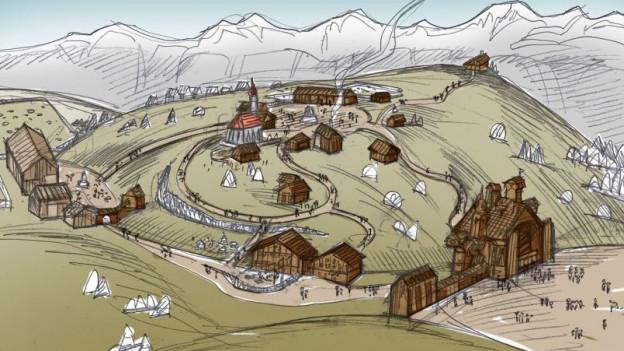 Zeichnung einer Alp mit Häusern.