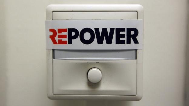 Türglocke mit Repower-Schild